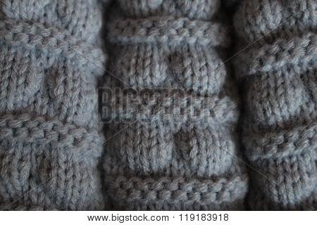 Detail of grey woollen cap