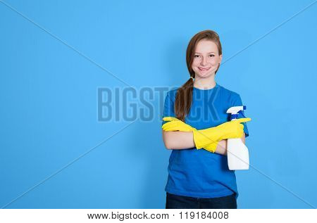 Spring Cleaning. Cleaning Woman With Cleaning Spray Bottle Happy And Smiling. Beautiful Cleaning Gir
