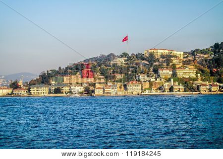 Villas along the Bosporus. View from Bosporus.