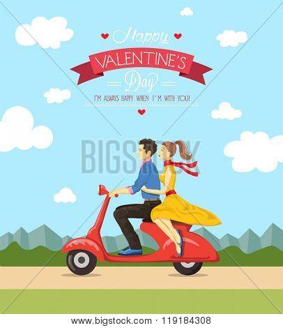 Valentine's day greeting card.Vector illustration