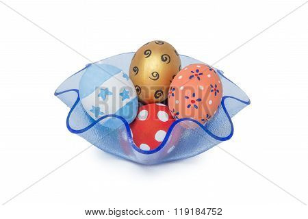 Colorful Handmade Easter Eggs In Blue Tray Isolated On A White Background