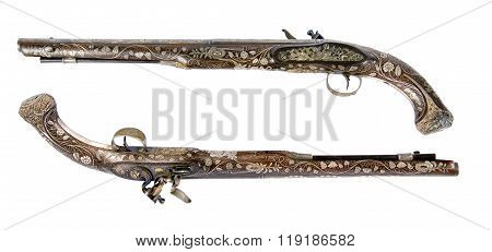 Old Pistol Inlaid With Bone And Enamel