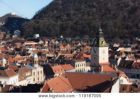BRASOV ROMANIA - FEBRUARY 06 2016. City scape Aerial view of the Old Town Brasov Transylvania Romania.