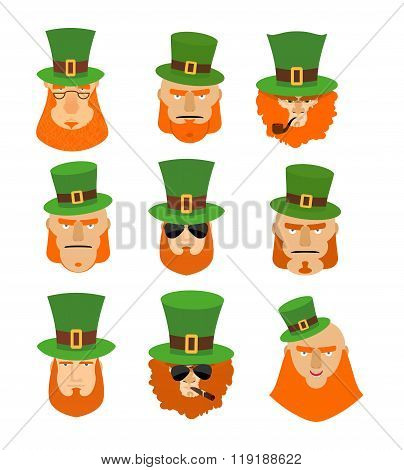 Leprechaun Set Head. Funny And Serious Facial Leprechauns. Big Red Beard. Green Hat Cylinder. Pipe A