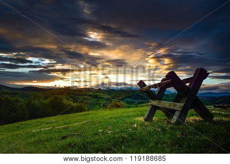 Sunrise On Holbav Mountain Hills. Transylvania. Romania