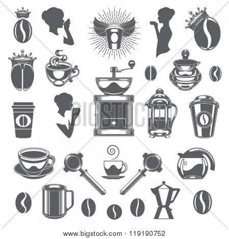 Coffee Shop Vector Design Elements. Coffee Cup Silhouette Isolated On White Background. Vector object for Labels, Badges, Logos Design. Coffee Logo, Tea Logo, Coffee Silhouette, Bean Icon, Cup Icon