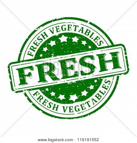 Damage To The Green Round Stamped - Fresh Vegetables - Vector