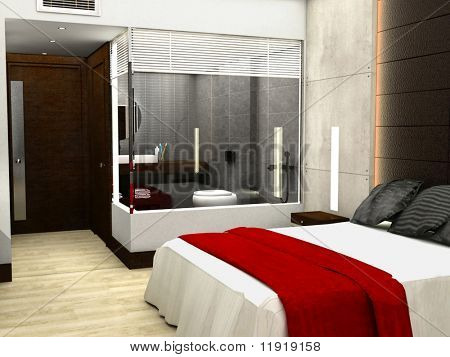 3D rendering of bedroom or hotel room
