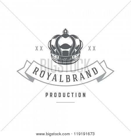 King Crown Logo Template Royal Crown Silhouette Isolated On White