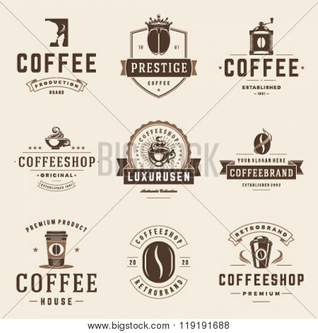 Coffee Shop Logos Templates Set. Bean Silhouette Isolated On White Background. Vector object for Labels, Badges, Logos Design. Coffee Logo, Bean Logo, Coffee Bean Symbol, Retro Logo, Bean Icon