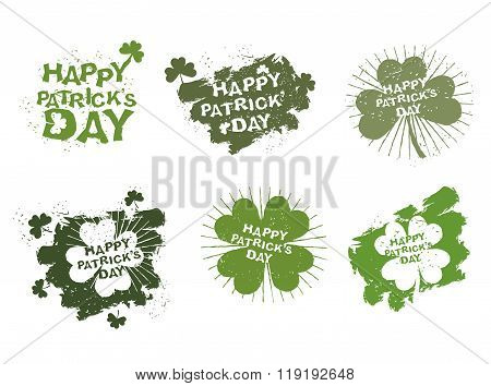 Happy Patricks Day Logos Set In Style Of Grunge. Trace Of Brush And Shamrock Clover. Clover With Fou