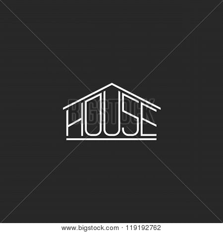House Logo Hipster Monogram Lettering, Graphic Word T-shirt Design Element