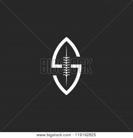 Football Ball Logo S Letter, Creative Idea Rugby Sport Team Emblem Template