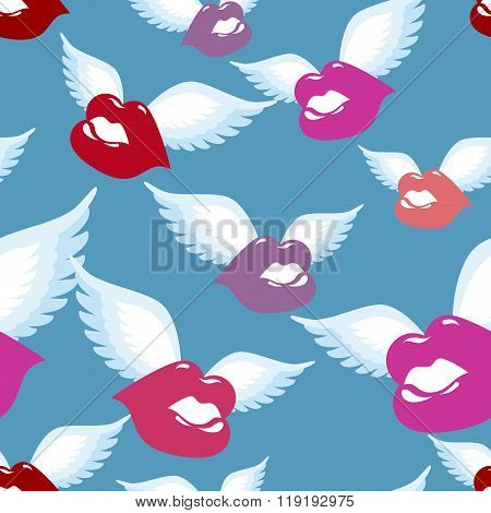 Winged Kiss Seamless Pattern. Kiss With Wings Background. Fabric Ornament. Romantic Texture Of Succu