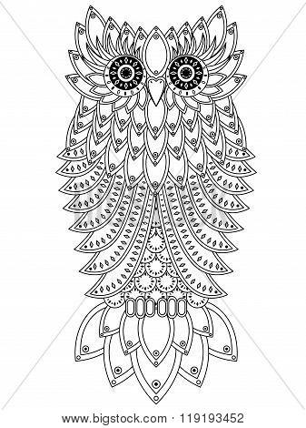 Funny Big Owl Black Outline
