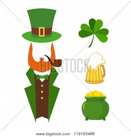 Patricks Day Set Of Elements. Green Clover. Mug With Beer. Big Green Pot Of Gold. Treasures Of Lepre