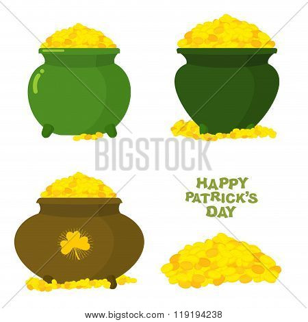 Pot Of Gold. Pot Of Leprechaun. Treasures Of Mythical Irlanskogo Dwarf. Wealth Of Gold Coins. Happy