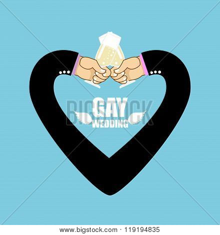 Gay Wedding. Heart Of Mans Hands. Romantic Illustration For Gays. Men Drink Wine From Wine Glasses.