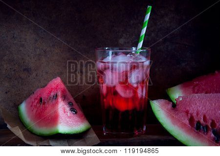 Watermelon cold drink and fresh watermelon