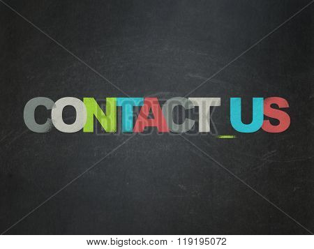 Business concept: Contact us on School Board background