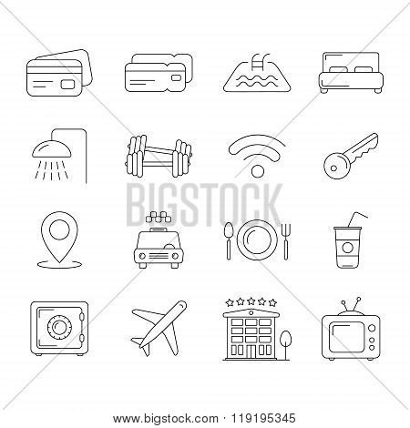 Travel and hotel line icons