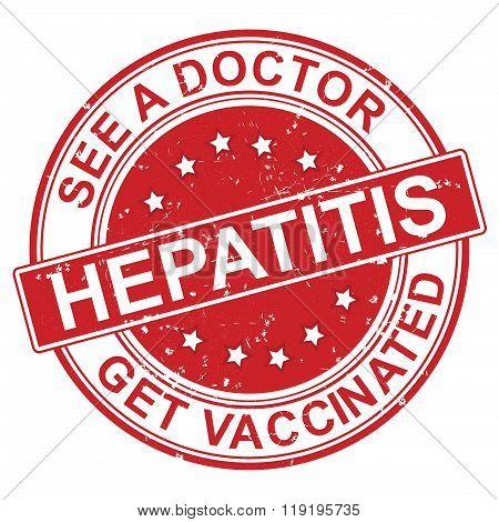Hepatitis  red grunge label.