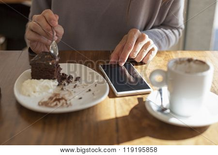 Hands Chocolate Cake And Phone