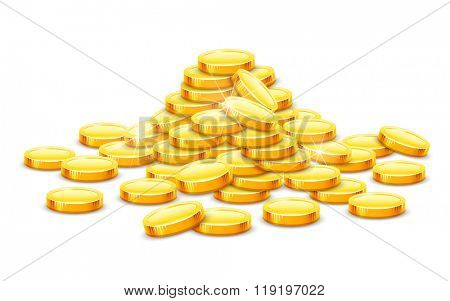 Gold coins cash money in rouleau. Vector illustration. Isolated on white background. Transparent objects used for lights and shadows drawing