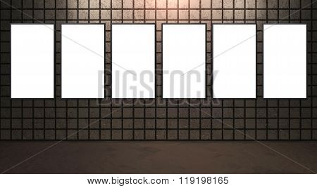 Advertisement Display On Brown Wall