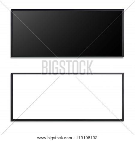 Blank Of Led Cinema Display Isolated On White Background