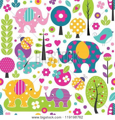 cute elephants in colorful forest pattern