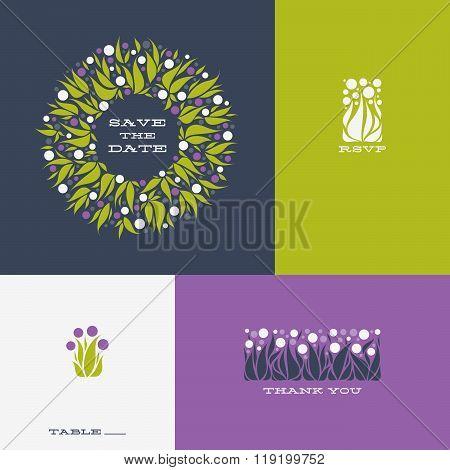 Floral Design Elements And Wreath Of Allium. Vector Illustration