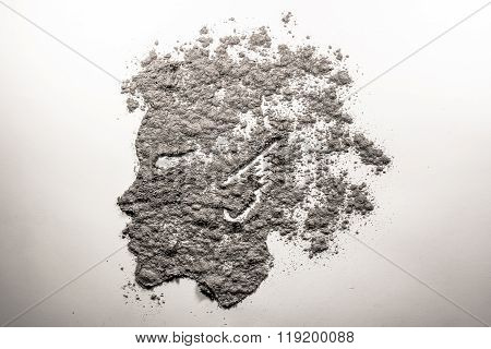 Mythical Satyr Boy Profile Face Made Of Ash