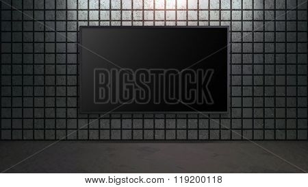 Blank Wide Screen Tv With Square Brick Wall In Room
