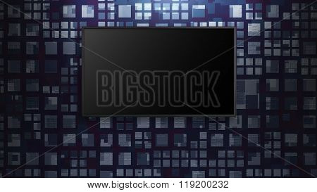 Led Tv Display On Abstract Pattern Wall