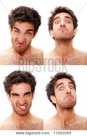 Young man with multiple face expressions