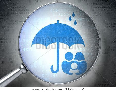 Privacy concept: Family And Umbrella with optical glass on digital background