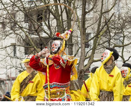 The Masked Participants Of New Chinese Year Parade In Paris.