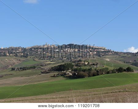 Scenic View Of Typical Tuscany Landscape In Winter