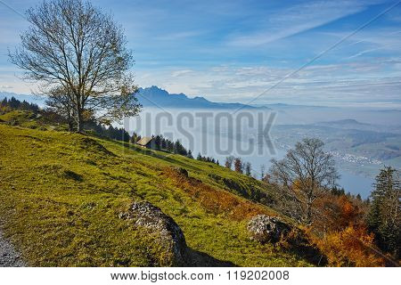 Landscape with fog over Lake Luzerne, Alps, Switzerland