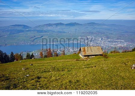 Mountain house and Panoramic view to Lake Luzerne, Alps, Switzerland