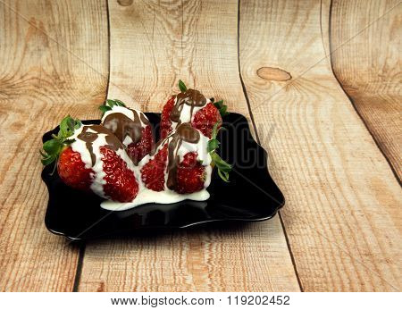 Photo Of Fresh Strawberries With Cream And Chocolate On Wooden Table