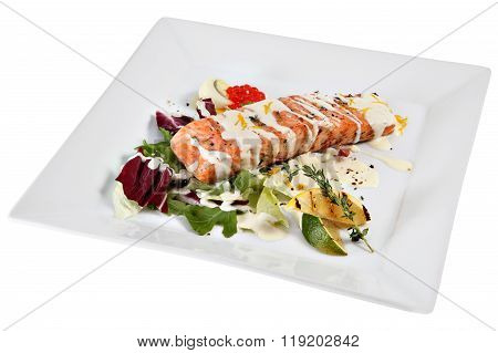 Slice Roast Salmon In White Sauce With Vegetables And Rosemary.