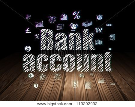 Banking concept: Bank Account in grunge dark room
