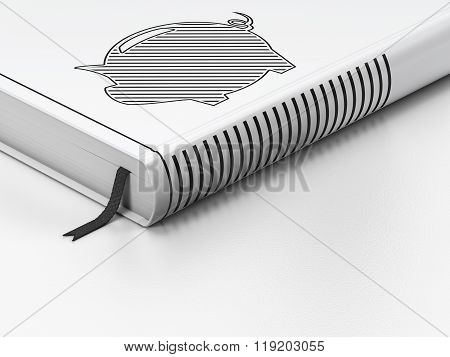 Money concept: closed book, Money Box on white background