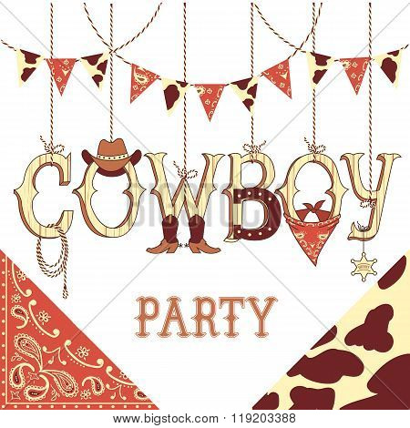 Cowboy Party Text .vector Background Isolated On White For Design