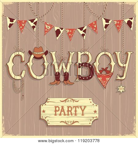 Cowboy Party Text .vector Background