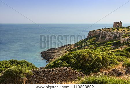 APULIA LANDSCAPE.Natural Park of Porto Selvaggio : Uluzzo watchtower.(Salento) Italy.
