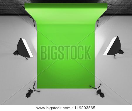 Top View Greenscreen Studio With Lightbox And Softbox. Film Studio With Green Backdrop. 3D Rendering