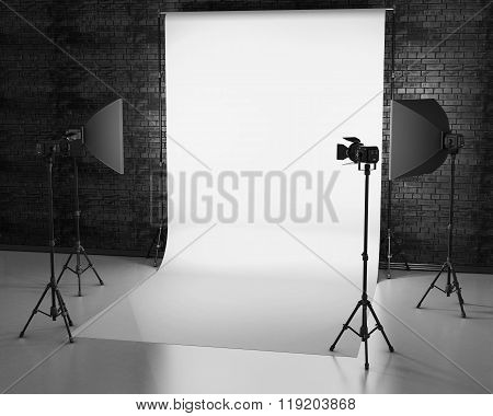 White Background Lit With Studio Equipment Against A Brick Wall. 3D